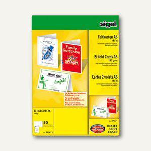 Sigel Faltkarten, DIN A6, Edelkarton, 185 g/m², hochweiß, 50 Stück, DP671 - Vorschau