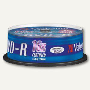 Verbatim DVD-R Rohlinge, 4.7 GB, 16x Speed, silber matt, 25er Spindel, 43522