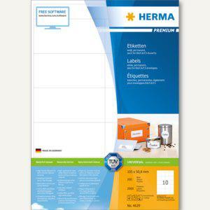 """Herma Etiketten """" Premium"""", DIN A4, 105 x 50.8 mm, weiß, 2.000 Stück, 4629"""