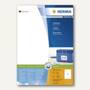 """Herma Etiketten """"Premium"""", DIN A4, 210 x 297 mm, weiß/matt, 100 Stück, 4428 - Vorschau"""