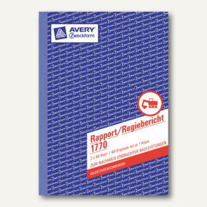 Formular Rapport/Regiebericht DIN A5, selbstdurchschreibend, 2x40 Blatt, 1770 - Vorschau