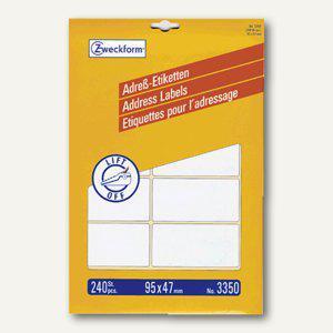 Zweckform Adress-Etiketten f.Schreibmaschine, DIN A4, 95 x 47 mm, 240 St., 3350