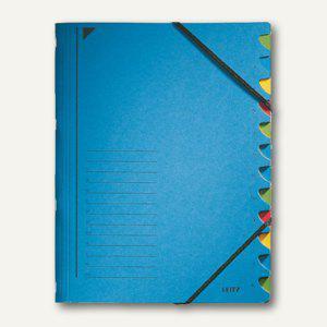LEITZ Ordnungsmappe DIN A4, Fächer 1-12, blau, 39120035 - Vorschau