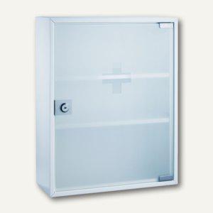Alco Erste-Hilfe-Verbandsschrank mit Glastür 36x32x10 cm, Stahl weiß, 862