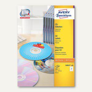 Zweckform CD-Etiketten ClassicSize, für alle Drucker, weiß, 200 Stück, L6043-100