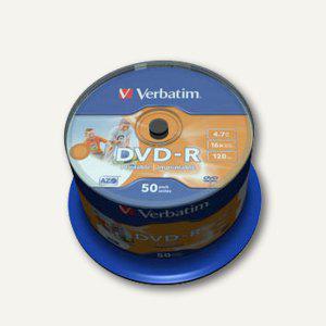 Verbatim DVD-R, 4, 7 GB, 16x, wide photo printable, Spindel, 50 Stück, 43533