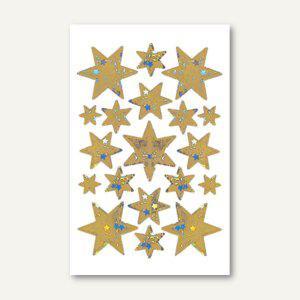 Sticker DECOR Sterne, 6-zackig, 5 Größen, Holografie, gold, 10 x 1 Blatt, 3902 - Vorschau