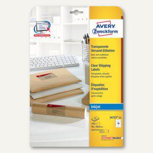 Zweckform Adress-Etiketten, 96 x 50.8mm, Inkjet, transparent, 250 Stück, J4722-25 - Vorschau