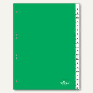 Kunststoff-Register DIN A4, A-Z, Schilder bedruckbar, 20-tlg., grün, 2 Sätze - Vorschau