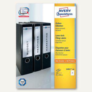 Zweckform Ordner-Etiketten, breit/kurz, weiß, 400 Stück, L6061-100 - Vorschau