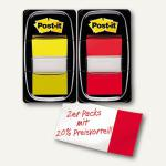 Post-it Index Set im Doppelpack, gelb/rot, 25.4 x 43.2 mm, I680-RY2