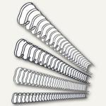 LEITZ Drahtbinderücken, DIN A4, 34 Ringe, Ø 12 mm, silber, 100 Stück, 27716