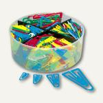 Büroklammern Kunststoffklips, Set mit 4 Größen, farbig sortiert, 650 Stück, 0813