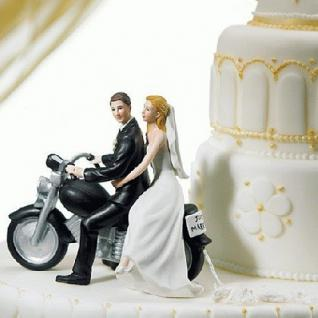 Tortendekoration Brautpaar auf Motorrad