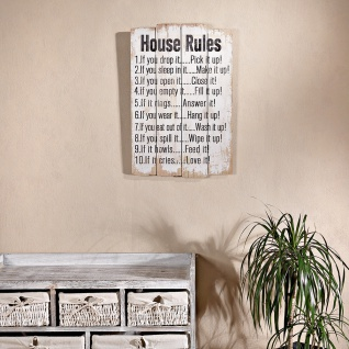 shabby wand bild board aus holz house rules kaufen bei mucola gmbh. Black Bedroom Furniture Sets. Home Design Ideas