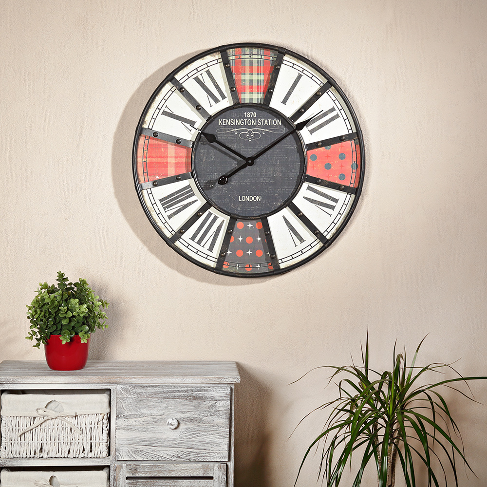 shabby chic wanduhr uhr holz metall rot schwarz kaufen bei mucola gmbh. Black Bedroom Furniture Sets. Home Design Ideas