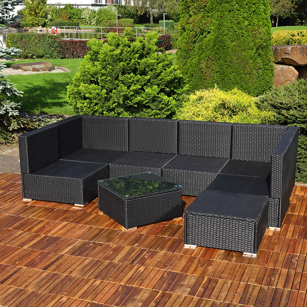 polyrattan sofa sitzgruppe lounge schwarz kaufen bei mucola gmbh. Black Bedroom Furniture Sets. Home Design Ideas