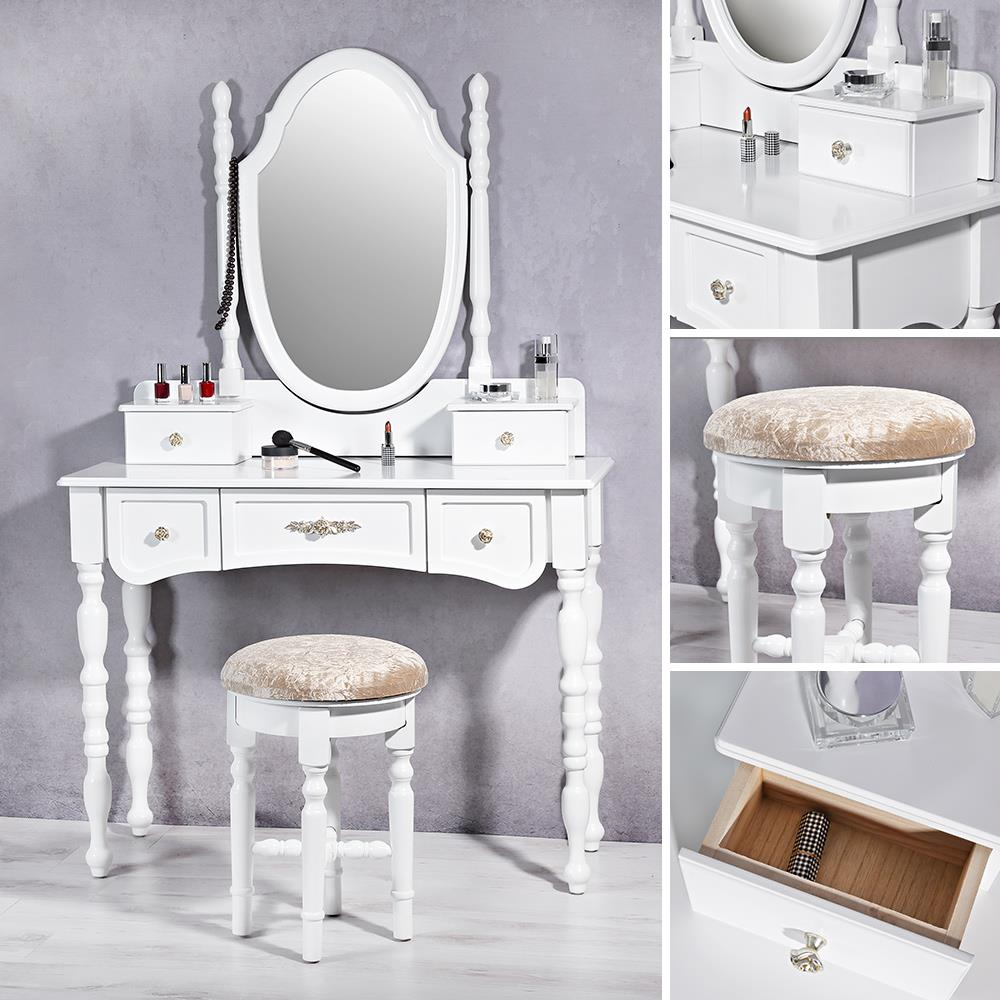 shabby chic schminktisch mit runden hocker in wei kaufen bei mucola gmbh. Black Bedroom Furniture Sets. Home Design Ideas