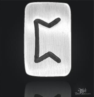 Runenplättchen/ Runenstein Perthro 925/000 Sterling Silber