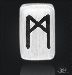 Runenplättchen/ Runenstein Mannaz 925/000 Sterling Silber