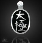 Tai Chi Anhänger mit schwarzer Kaltemaille