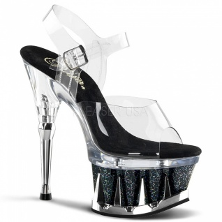 Plateau High Heels Spiky-608MG schwarz