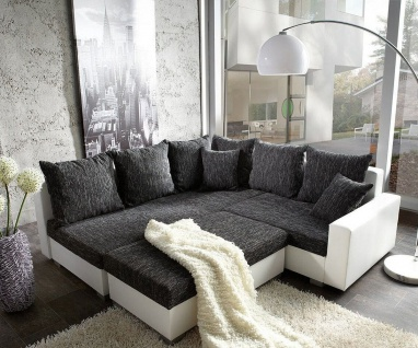 couch lavello schwarz weiss 210x210 ottomane links mit hocker ecksofa kaufen bei delife gmbh. Black Bedroom Furniture Sets. Home Design Ideas