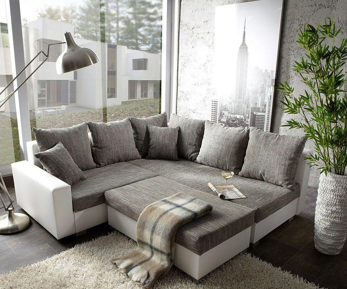 Couch lavello grau weiss 210x210 ottomane rechts mit for Delife gmbh