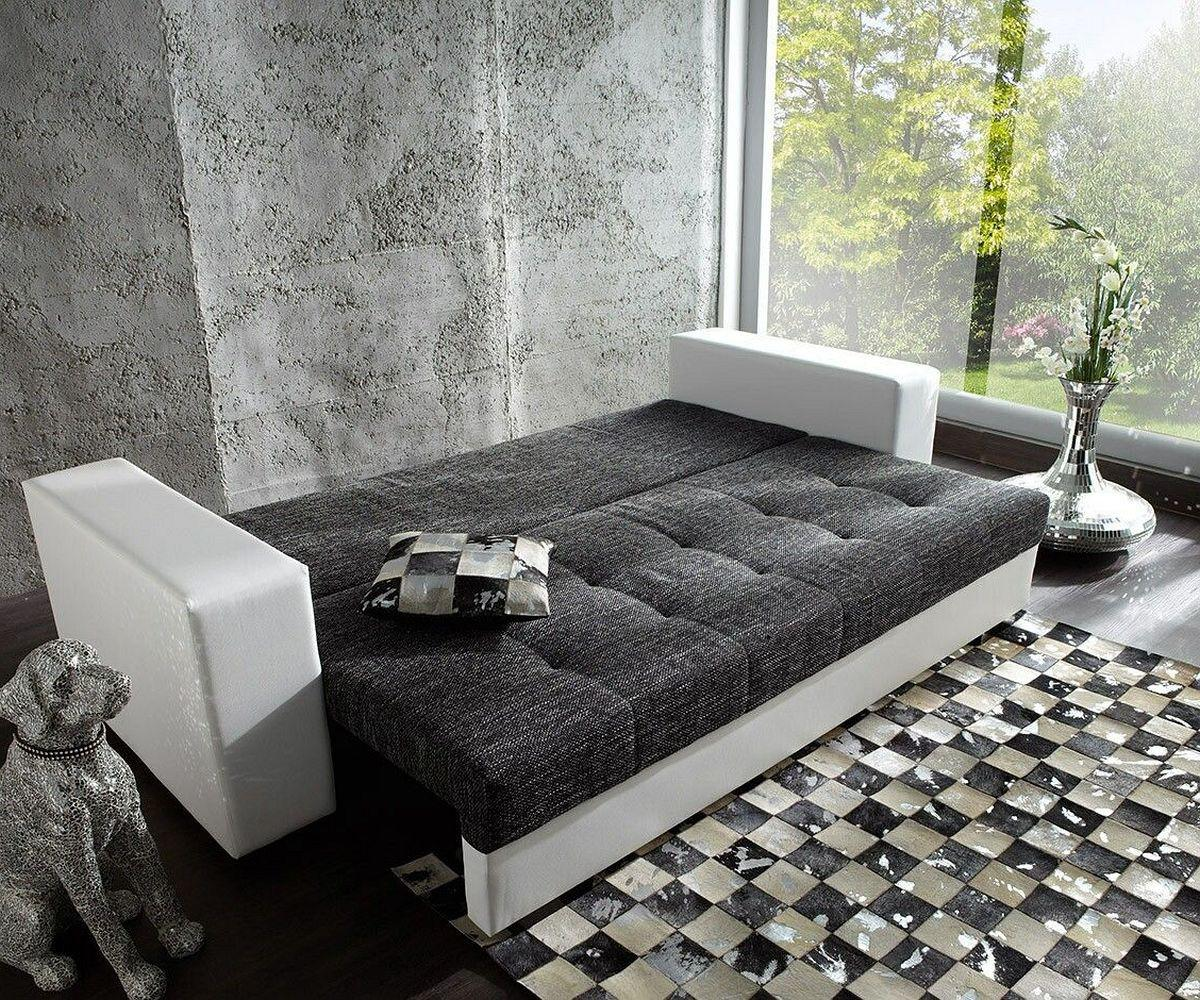 couch giorgio weiss schwarz 250x100 schlafsofa inklusive. Black Bedroom Furniture Sets. Home Design Ideas