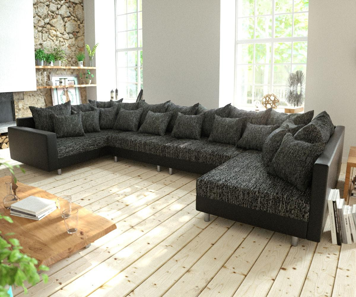 couch clovis xl schwarz mit armlehne wohnlandschaft modulsofa kaufen bei delife gmbh. Black Bedroom Furniture Sets. Home Design Ideas