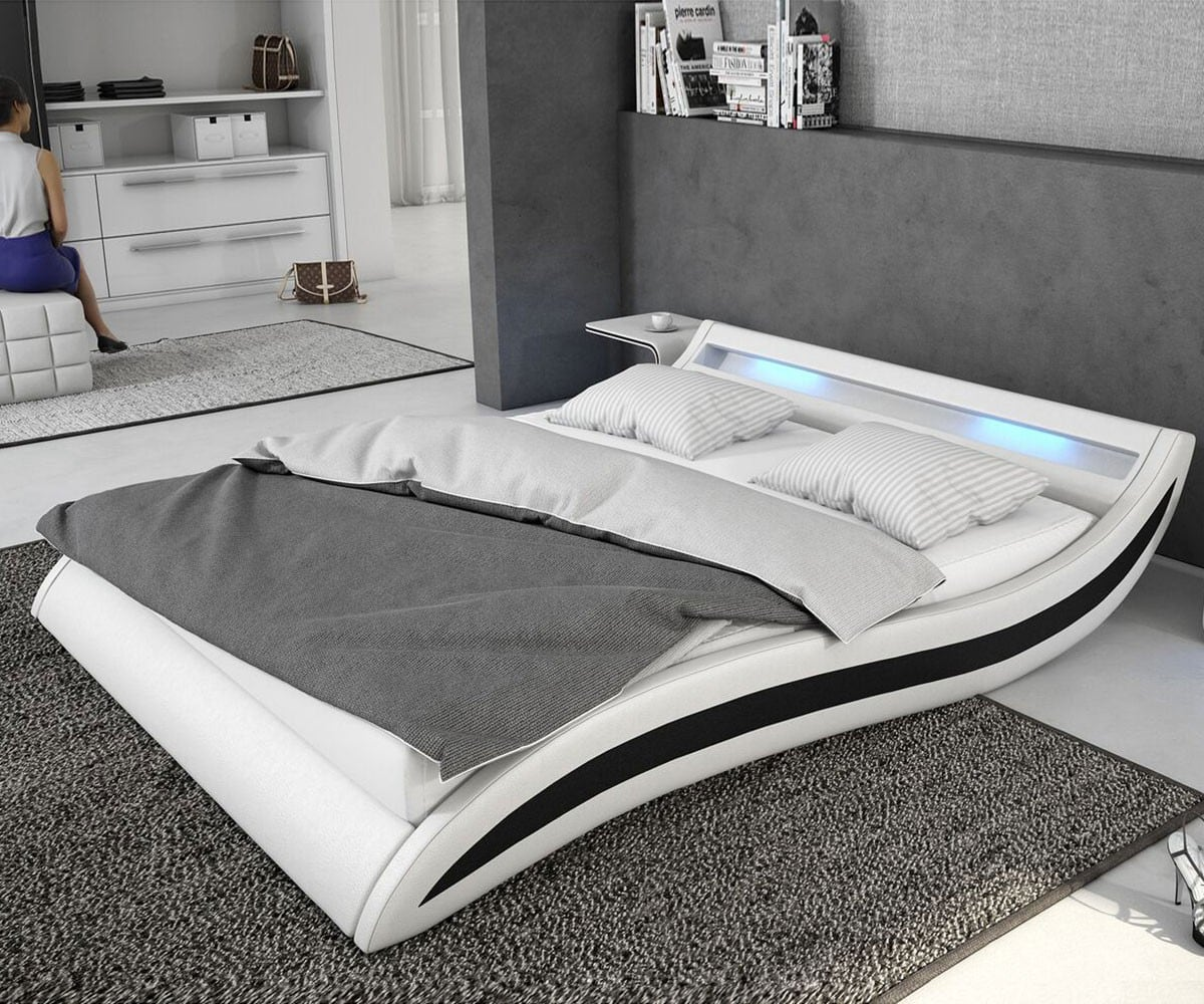 bett adonia weiss schwarz 140x200 cm mit led beleuchtung. Black Bedroom Furniture Sets. Home Design Ideas