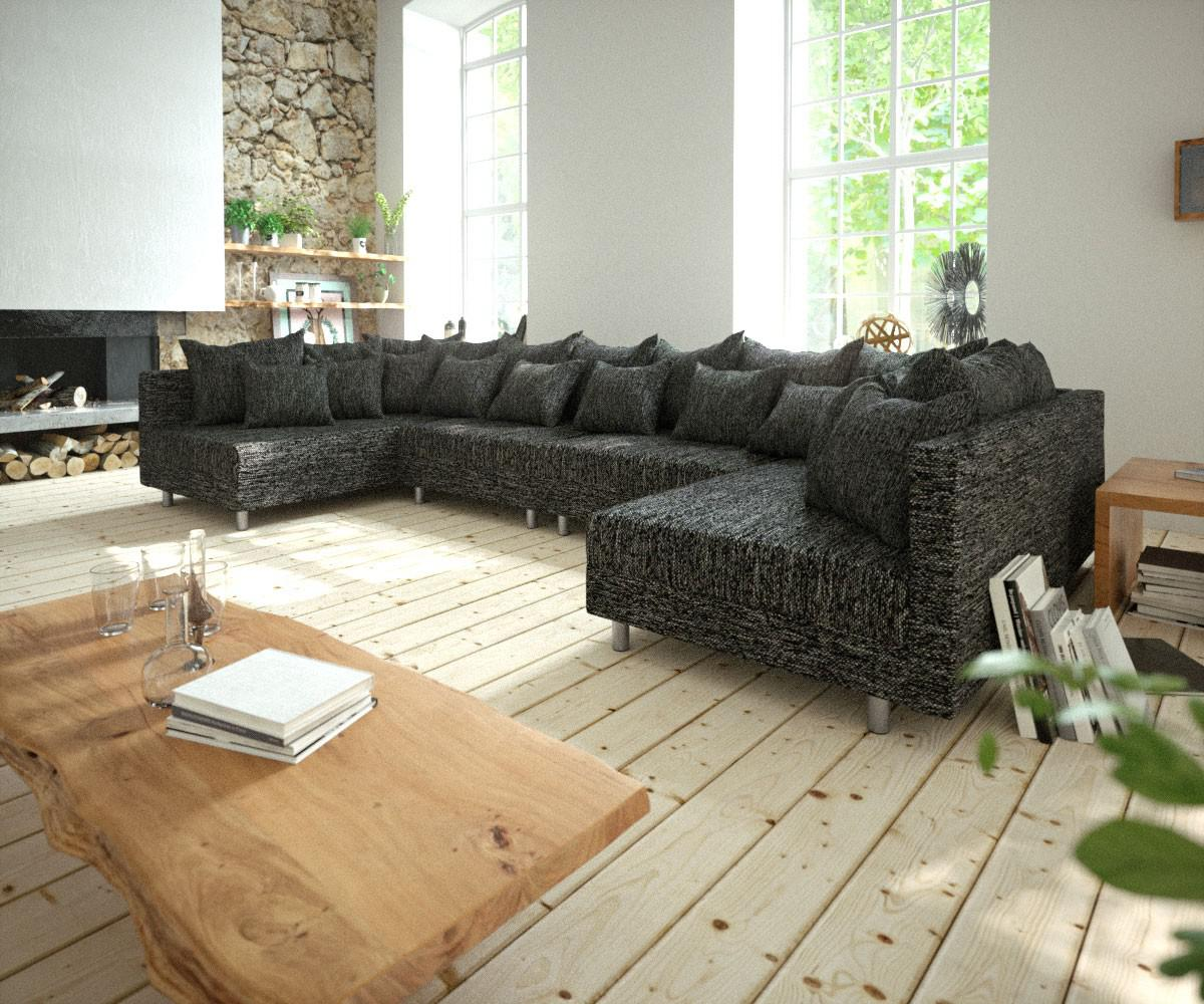 couch clovis xl schwarz strukturstoff wohnlandschaft kaufen bei delife gmbh. Black Bedroom Furniture Sets. Home Design Ideas