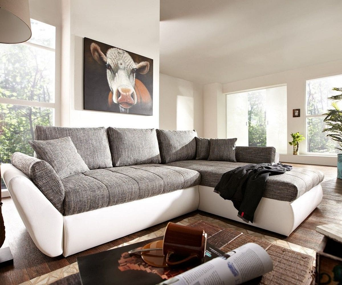 couch loana weiss grau 275x185 cm schlaffunktion ottomane. Black Bedroom Furniture Sets. Home Design Ideas