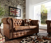 2-Sitzer Couch Chesterfield Braun 160x92 cm Antik Optik Sofa