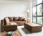 Couch Lavello Braun 210x210 Antik Optik Ottomane Links Hocker Ecksofa