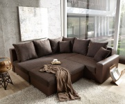 Sofa Lavello Dunkelbraun 210x210 Couch inklusive Hocker Ottomane links
