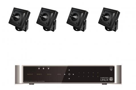 E-8004 SET 4 Kanal Full-HD Hybrid Videoüberwachung mit 4 HD 451 Kameras