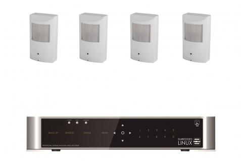 E-8004 SET 4 Kanal Full-HD Hybrid Videoüberwachung mit 4 HD 454 Bewegungsmelder Kameras
