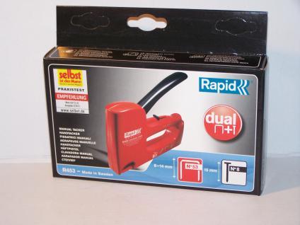 Handtacker Rapid R453 für Klammern Typ 53/530 von 6-14mm und Nägel 14/15mm incl. 1000 Klammern