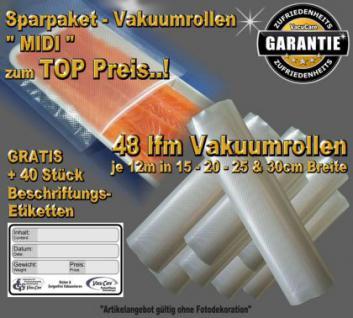 48 lfm Vakuumrollen goffriert -DIE BESTEN- Sparpaket MIDI incl. 40 Etiketten GRATIS, Strukturbeutel Vakuumtuete Vakuumfolie für ALLE Vakuumiergeräte