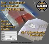 500 Vakuumbeutel goffriert 20 x 30 cm -Sparpaket- incl. 80 Etiketten GRATIS, für ALLE Vakuumgeräte z.B. Foodsaver, LA.VA, Solis, Genius, Gastroback etc.