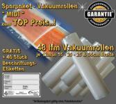 48 lfm Vakuumrollen goffriert -DIE BESTEN- Sparpaket MIDI incl. 40 Etiketten GRATIS, ALLE Vakuumgeräte z.B. Foodsaver LA.VA Lava Solis Genius Gastroback etc.