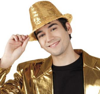 Trilby Hut Popstar Glitzerhut Paillette gold