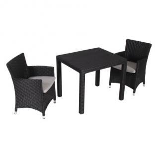 3-TEILIGES KINDER GARTENMÖBELSET 2 Sessel und 1 Tisch Kunststoffgeflecht schwarz
