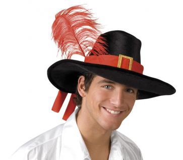 Musketier Hut schwarz mit Feder Edelmann