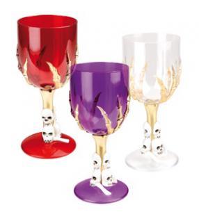 Halloween Weinglas mit Totenkopf Motiv, weiß, rot oder Lila Skull,
