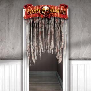 blutiger Türvorhang CREEPY CARNIVAL gruseliger Clown HALLOWEEN Deko