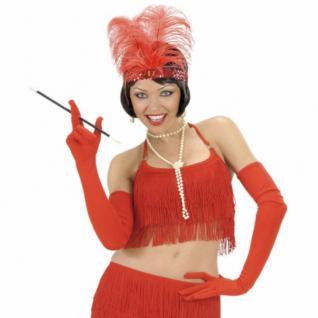 LANGE ROTE HANDSCHUHE 60 cm Karneval Charleston Party Kostüm Zubehör