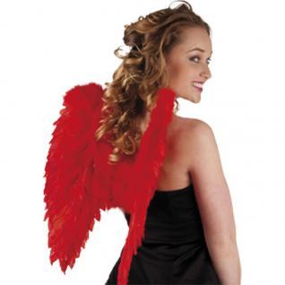 Flügel 50 x 50 cm rot mit echten Federn, Engelsflügel