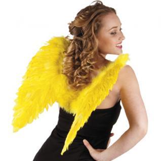 Flügel 50 x 50 cm gelb mit echten Federn, Engelsflügel